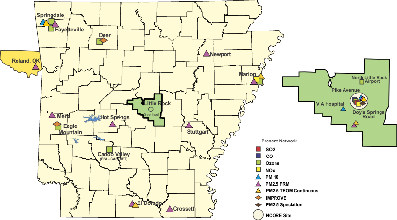 Arkansas World Map.Monitoring Site Map Air Division Adeq