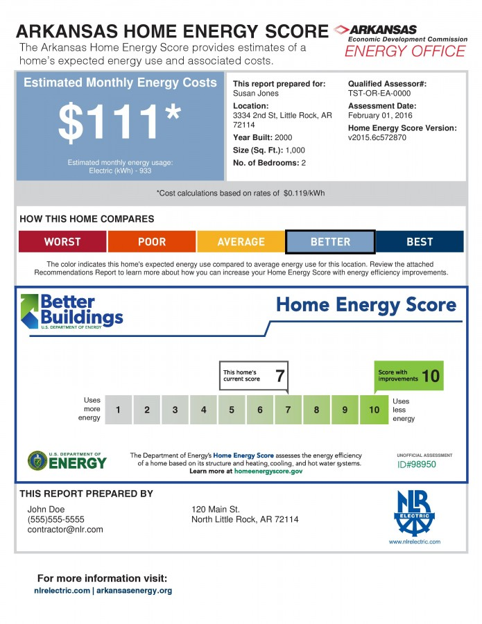 The Arkansas Home Energy Score provides estimates of a home's expected energy use and associated costs.