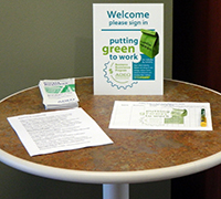 Putting Green to Work table display