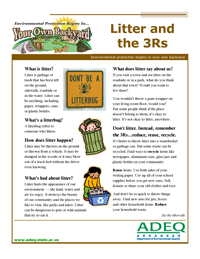 Litter and the 3 R's